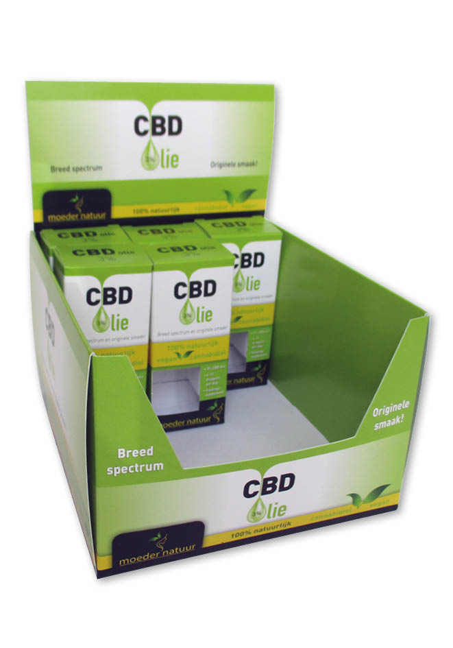 bedrukte displaydoos display verpakking cbd olie met opdruk in full color